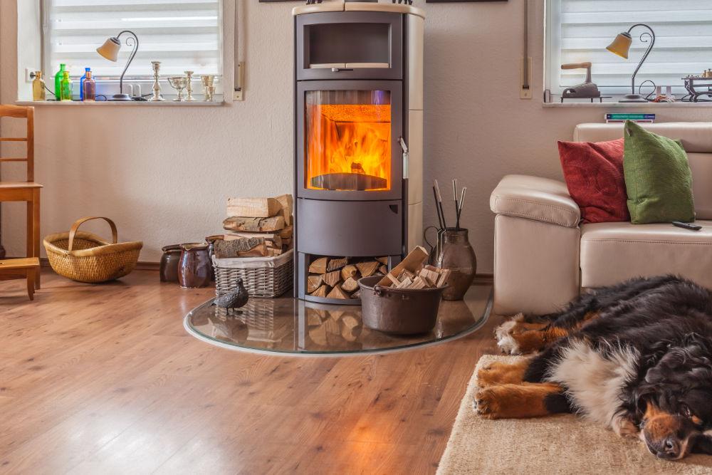 Un poêle à bois dans un salon avec un chien